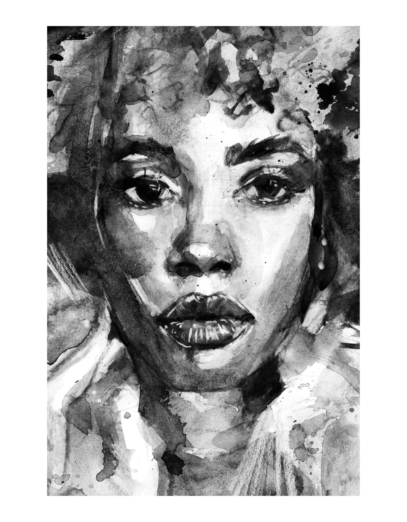 Dunnebier Home Poster Aquarel van een vrouw in zwart