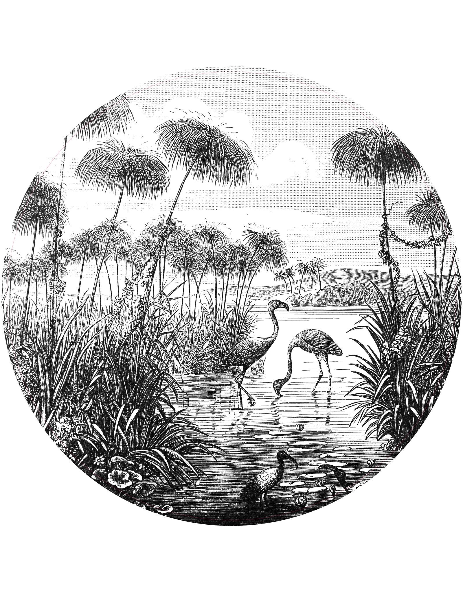 Dunnebier Home Muursticker Flamingo birds from Brockhaus Konversations-Lexikon 1908 - verwijderbaar