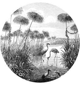 Dunnebier Home Muursticker Flamingo birds from Brockhaus Konversations-Lexikon 1908