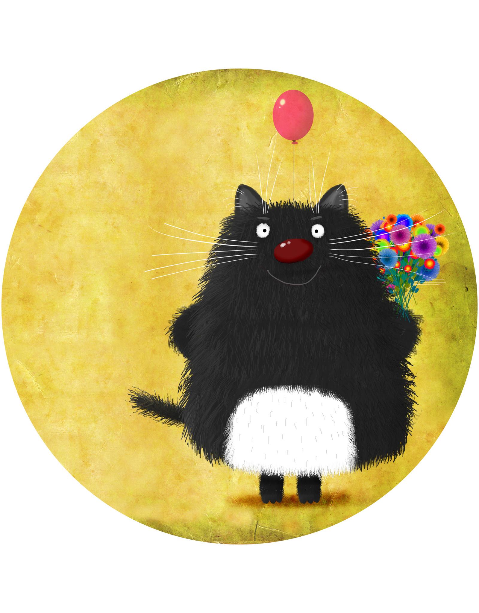 Dunnebier Home Muursticker Black Cat_Happy Birthday - verwijderbaar