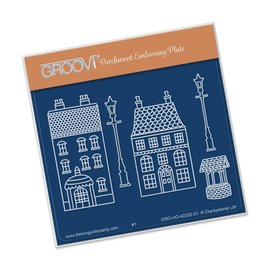Groovi WEE HOUSES & LAMP POSTS  A6 SQUARE GROOVI BABY PLATE