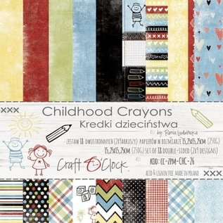 Craft O' Clock CHILDHOOD CRAYONS - A SET OF PAPERS 15,25X15,25CM