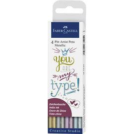 Faber Castell Tekenstift Faber-Castell Pitt Artist Pen metallic 4-delig etui
