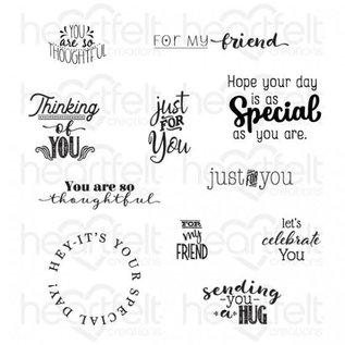 Heartfelt Creations Just For You Sentiments Cling Stamp Set