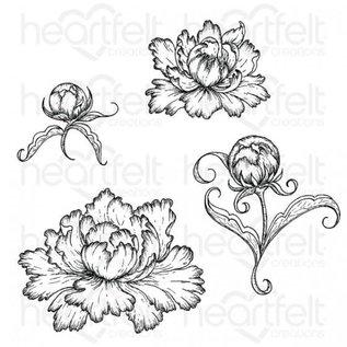 Heartfelt Creations Peony Bud and Blossom Cling Stamp Set
