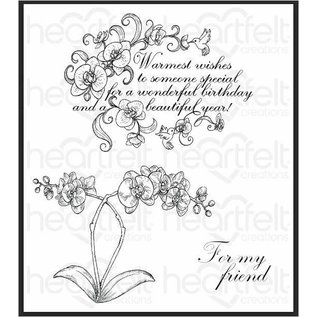 Heartfelt Creations Botanic Orchid Wishes Cling Stamp