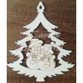 Cart 'n Scrap Art n° 05. 2 Sneeuwmannen in kerstboom