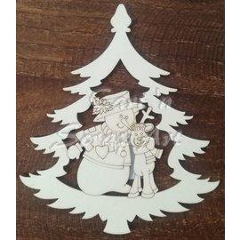 Cart 'n Scrap Art n° 06. Sneeuwman met rendier in kerstboom