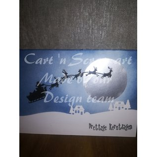Cart 'n Scrap Art n° 37. slede met 5 rendieren - klein - 4 stuks