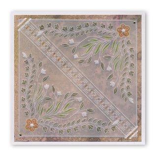 Groovi TINA'S FLORAL SWIRLS & CORNERS 1 A4 SQUARE GROOVI PLATE