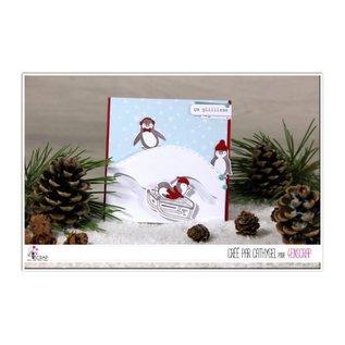 4enscrap Die + Stamp Penguin Ice - It's slipping !