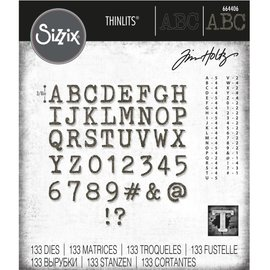 Tim Holtz Sizzix ALPHANUMERIC TINY TYPE UPPER Thinlits Die Set