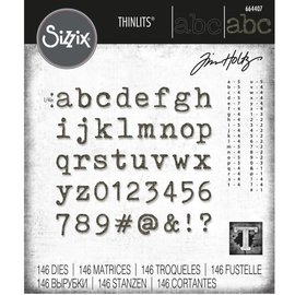 Tim Holtz Tim Holtz Sizzix ALPHANUMERIC TINY TYPE LOWER Thinlits Die Set 664407
