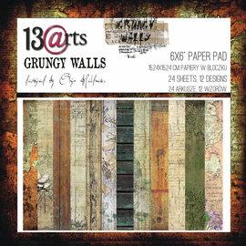 13 Arts Grungy Walls,  6x6, 24 sheets, 12 designs, enkel bedrukt