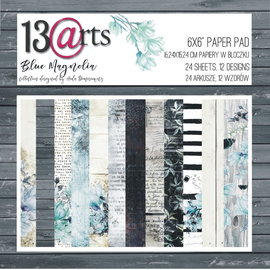 13 Arts Blue Magnolia,  6x6, 24 sheets, 12 designs, enkel bedrukt