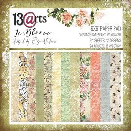 13 Arts Bloom,  6x6, 24 sheets, 12 designs, enkel bedrukt