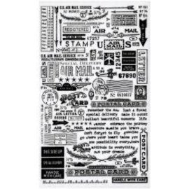 """Tim Holtz Idea-Ology Remnant Rubs Rub-Ons 4.75""""X7.75"""" 2/Pkg Special Delivery"""