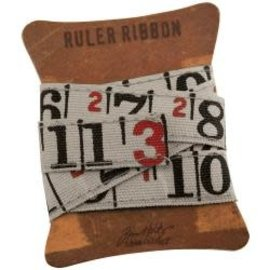 "Tim Holtz Tim Holtz - Canvas Fabric Ruler Ribbon 1yd Natural, .625"""
