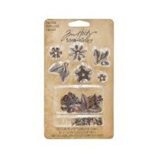 Tim Holtz Tim Holtz - Foliage - 12 flowers - 6 leaves - 18 fasteners