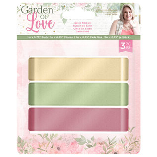 Crafters Companion Garden of Love - Satijn Lint 3-pack