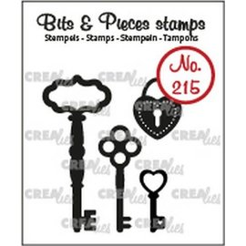 CreaLies Crealies Clearstamp Bits & Pieces 3x sleutels+ hangslot