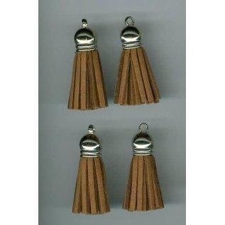 Kwastjes-tassel met cap suede licht bruin- zilver 3CM 4 ST