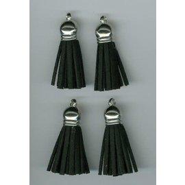 Kwastjes-tassel met cap suede zwart- zilver 3CM 4 ST