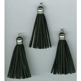 Kwastjes-tassel met cap suede zwart- zilver 5CM 3 ST