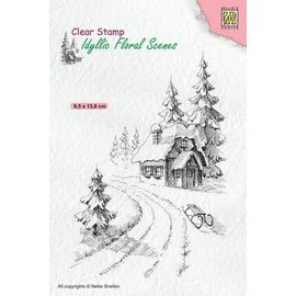 Nellie's choice Nellies Choice clearstamp - Idyllic Floral - Winter huis