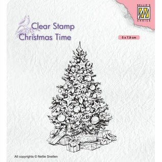Nellie's choice Nellies Choice Clearstempel - Christmas time - Kerstboom  50x79mm