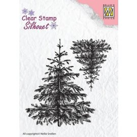 Nellie's choice Nellie's Choice Silhouette Clear Stamps 2 Kerstbomen 72x28mm