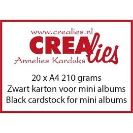 CreaLies Zwart karton, 210 grams, voor o.a. mini albums (20x A4