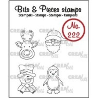 CreaLies Bits & Pieces stempel no. 222, Mini rendier, kerstman, sneeuwpop, pinguïn