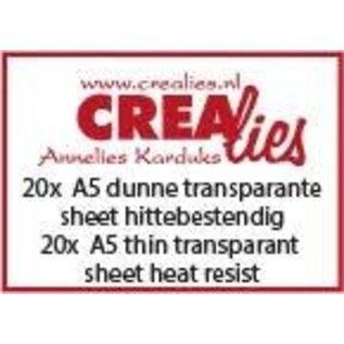 CreaLies 20x A5 hittebestendige dunne transparante sheet