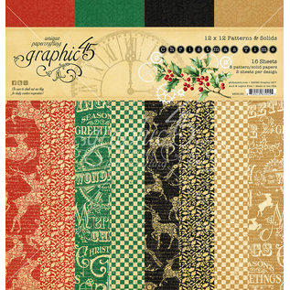 Graphic 45 Christmas Time  Patterns & Solid Pad  2x8 designs