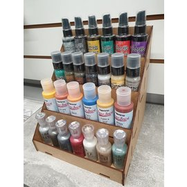 Cart 'n Scrap Art DIY  Display voor kleine flesjes- alcohol ink , mixed media projectje