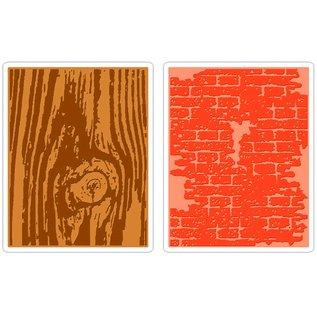 Sizzix Sizzix Bricked & Woodgrain Texture Fades 2pk