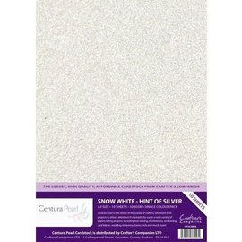 Crafters Companion Centura Pearl, 10 Sheets of Snow White Hint of Silver 300gsm