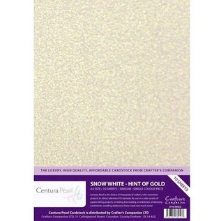 Crafters Companion Centura Pearl, 10 Sheets of Snow White Hint of Gold 300gsm