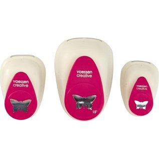 Vaessen 3 x butterfly ponsen - 1.5cm - 2.5 cm - 3.75 cm