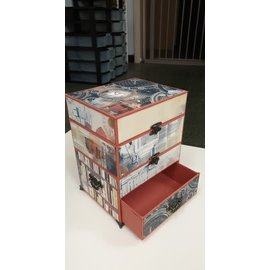 Cart 'n Scrap Art Kistje met 2 opbergvakken en 1 schuifje, met slotjes , pootjes, scharnieren en handvatjes