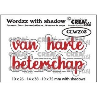 CreaLies Wordzz stansen with shadow no. 03, van harte beterschap