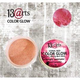 13 Arts 13Arts Metallic Watercolor Paint Powder Color Glow coral red