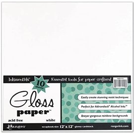 """Ranger Ranger Glossy Cardstock white - 10 sheets 12""""x12"""""""
