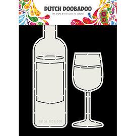 Dutch Doobadoo Card Art Wine Bottle and Glass