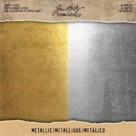 Tim Holtz Tim Holtz Metallic kraft papier Goud-zilver 36sheets