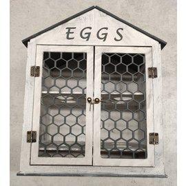 Cart 'n Scrap Art DIY Eierhuisje, blanco hout met scharniertjes
