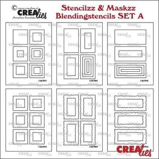 CreaLies Blendingstencils set A, 6x rechthoek, gladde en ruwe randen