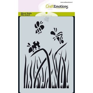 CraftEmotions Mask stencil Bugs & flowers - wolken A6 Carla Creaties
