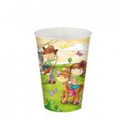 PAPSTAR Drinkbekers, Karton 0,2 l _ 7 cm x 9,7 cm 'Pony Farm'